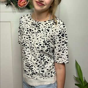 Ann Taylor Ivory Black Spotted Layered Top